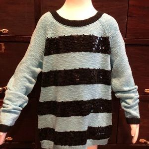 Justice Turquoise & Black Sequin Sweater-10